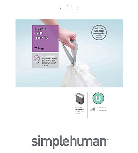 SIMPLE HUMAN Custom fit pack of 20 bin liners 55L code U