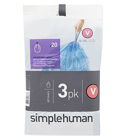 SIMPLE HUMAN Code V bin liners 3 x 20 pack