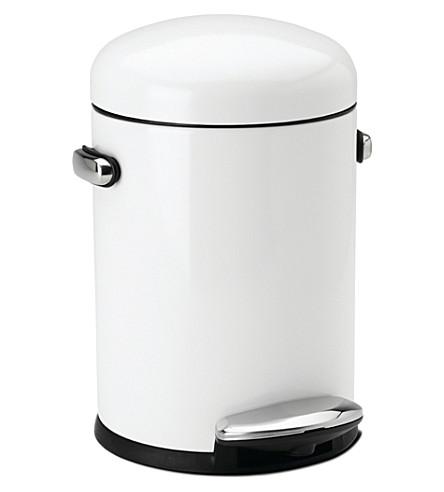SIMPLE HUMAN Retro white steel pedal bin 4.5L