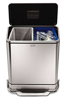 SIMPLEHUMAN Steel bar rectangular recyling bin 55L