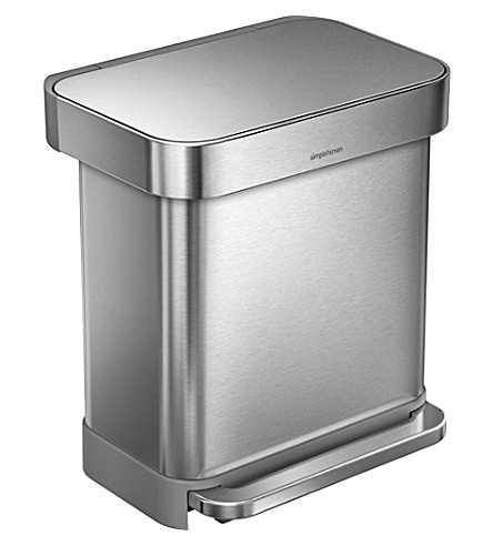 SIMPLE HUMAN Rectangular stainless steel pedal bin 30L