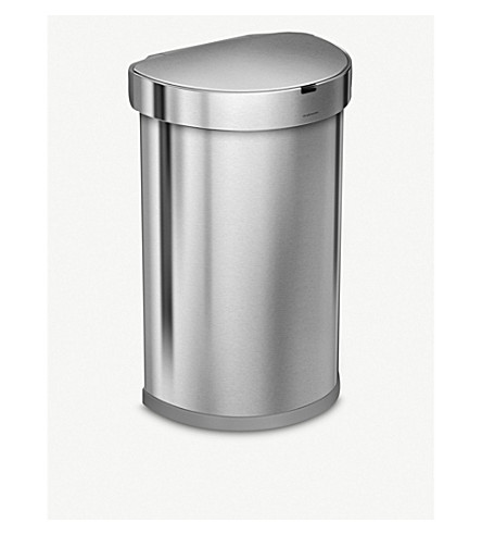 SIMPLE HUMAN Semi-round stainless steel sensor bin 45L