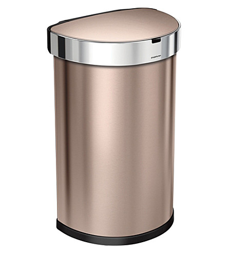 SIMPLE HUMAN Semi-round rose gold steel sensor bin 45L