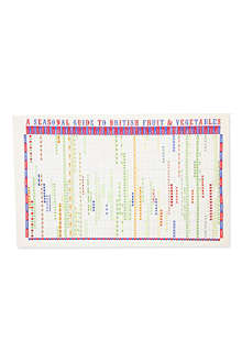 STUART GARDINER Seasonal guide to British fruit and vegetables tea towel