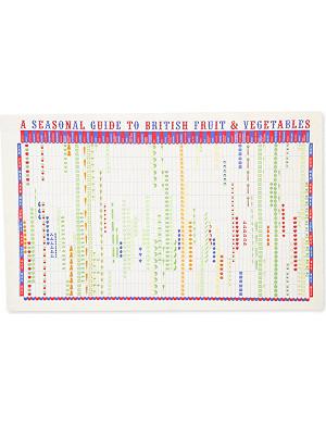 STUART GARDINER Seasonal guide to British fruit and vegetables tea towel