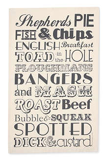 VICTORIA EGGS English Dinner tea towel