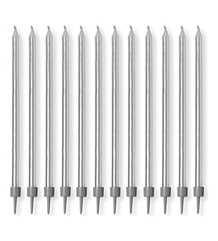 TALA Pack of 12 tapered candles with holders