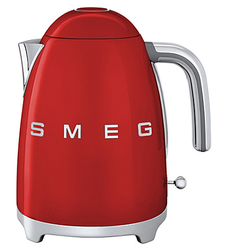 SMEG KLF03 logo stainless steel kettle (Red