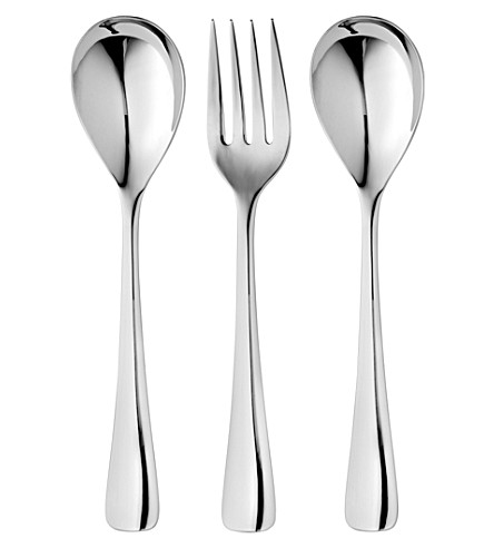 ROBERT WELCH Malvern mirrored stainless steel three-piece serving set