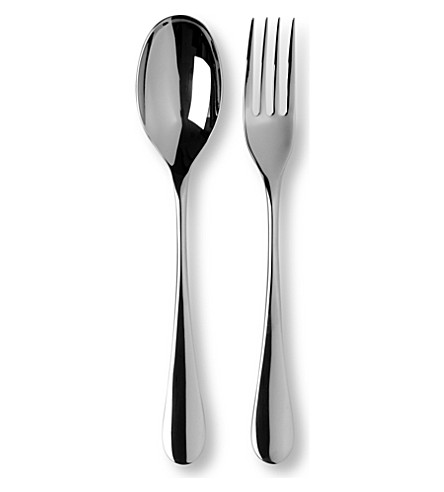 STUDIO WILLIAM Mulberry mirrored stainless steel two-piece serving set
