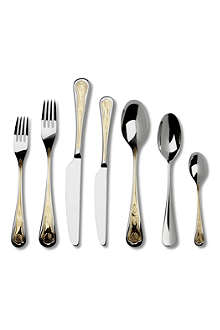 STUDIO WILLIAM Royal Oak gold-plated stainless steel 52-piece cutlery set