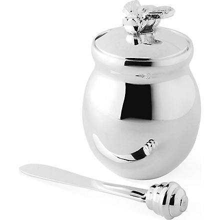 CULINARY CONCEPTS Silver-plated bee honey pot with honey spreader