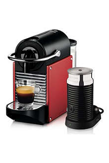 NESPRESSO Pixie Nespresso with Aeroccino by Magimix electric red