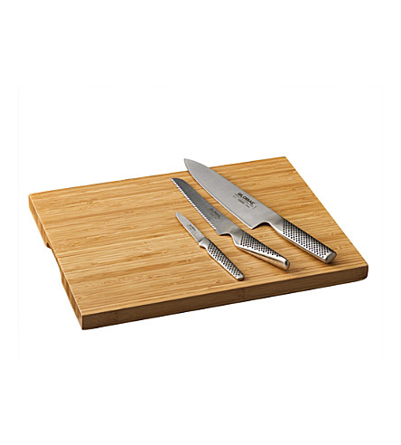 GLOBAL Three-piece knife set with cutting board