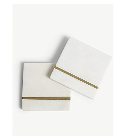 BLOOMINGVILLE Square marble coasters 4-pieces