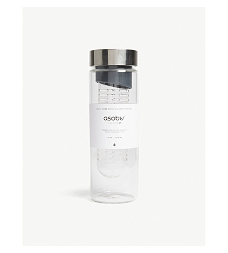 FLAVOUR IT Flavour It fruit infuser water bottle 600ml (Grey+/+silver