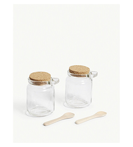 GARDEN TRADING Glass sprinkle jars and wooden spoons set of two