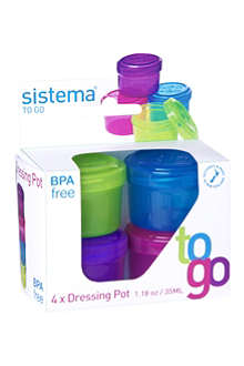 SISTEMA Set of four dressing pots to go