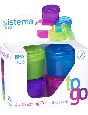 SISTEMA Set of four dressing pots to go