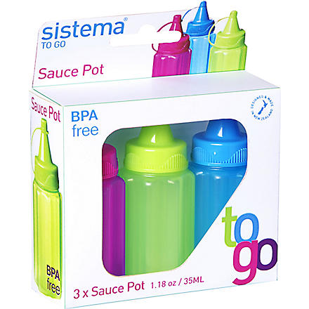 SISTEMA Set of three sauce bottles to go