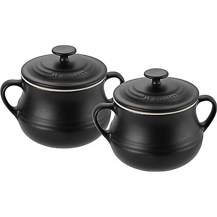 LE CREUSET Stoneware pair of bean pots (Black