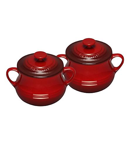 LE CREUSET Stoneware pair of bean pots (Cerise