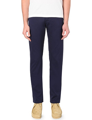 OLIVER SPENCER Slim-fit tapered cotton trousers