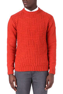 OLIVER SPENCER Zig zag crew neck knitted jumper