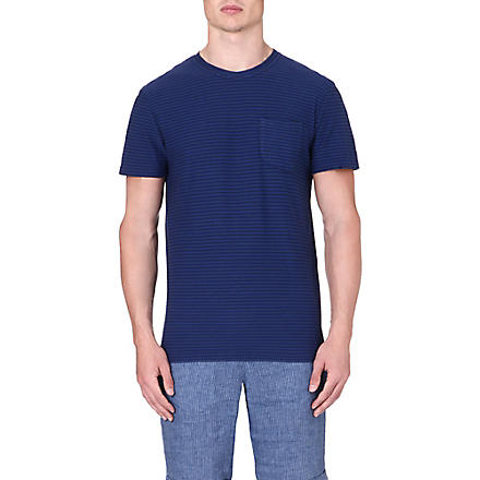 OLIVER SPENCER Striped pocket t-shirt (Navy