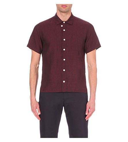OLIVER SPENCER Regular-fit linen shirt (Opie+burgundy