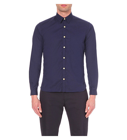 OLIVER SPENCER New York Special slim-fit cotton shirt (Astley+navy