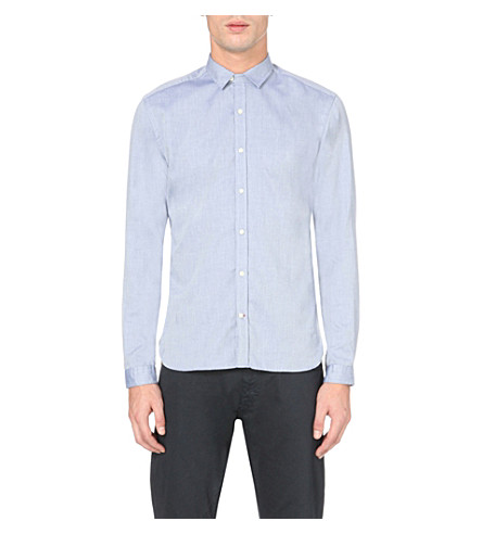 OLIVER SPENCER Clerkenwell regular-fit cotton shirt (Astley+blue
