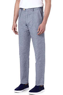 OLIVER SPENCER Tapered Linen-blend trousers
