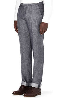 OLIVER SPENCER Pleated linen trousers