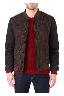 HARRIS TWEED Checked bomber jacket