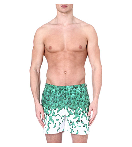 ORLEBAR BROWN Bulldog Falling Feathers swim shorts (Parrot