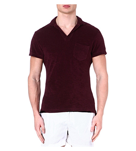 ORLEBAR BROWN Terry towelling polo shirt (Bordeaux