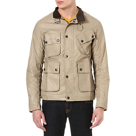 BARBOUR Helton coated linen jacket (Stone