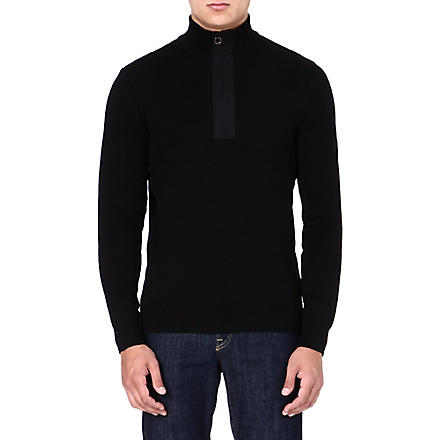BARBOUR Throttle zipped-neck jumper (Black
