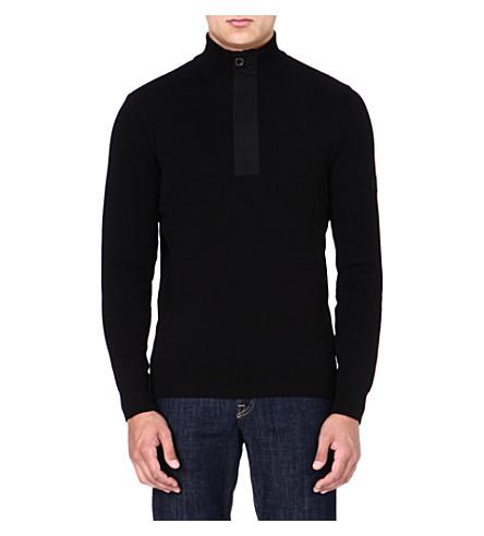 BARBOUR Throttle zipped-neck jumper (Black