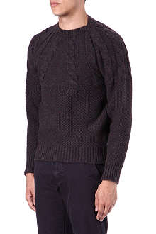 BARBOUR Half cable-knit jumper
