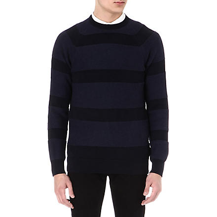 BARBOUR Striped knitted jumper (Navy