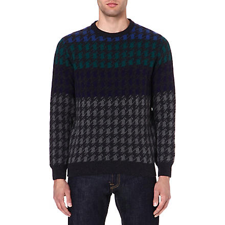 BARBOUR Houndstooth knit jumper (Charcoal