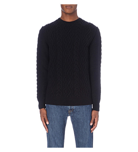 BARBOUR Textured wool sweater (Navy