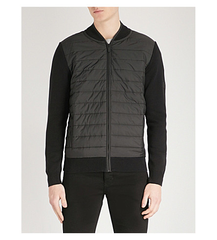 BARBOUR 挡板绗缝软壳面料和羊毛夹克 (黑色