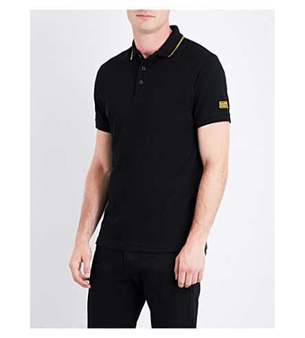 BARBOUR Contrast-trim cotton-piqué polo shirt (Black