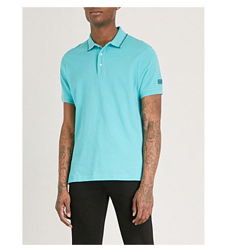 BARBOUR International contrast-trim cotton-piqué polo shirt (Turquoise