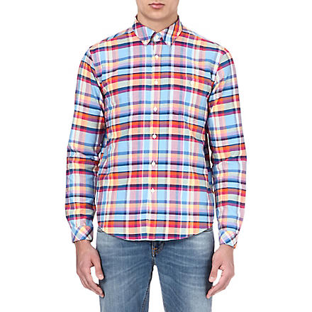 BARBOUR One pocket checked shirt (Aqua