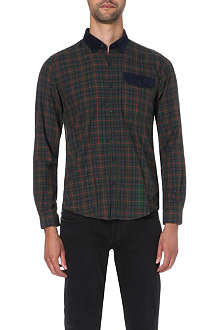 BARBOUR Check shirt with corduroy collar