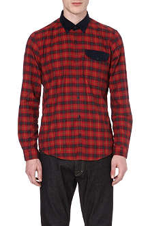 BARBOUR Corduroy-detail checked shirt